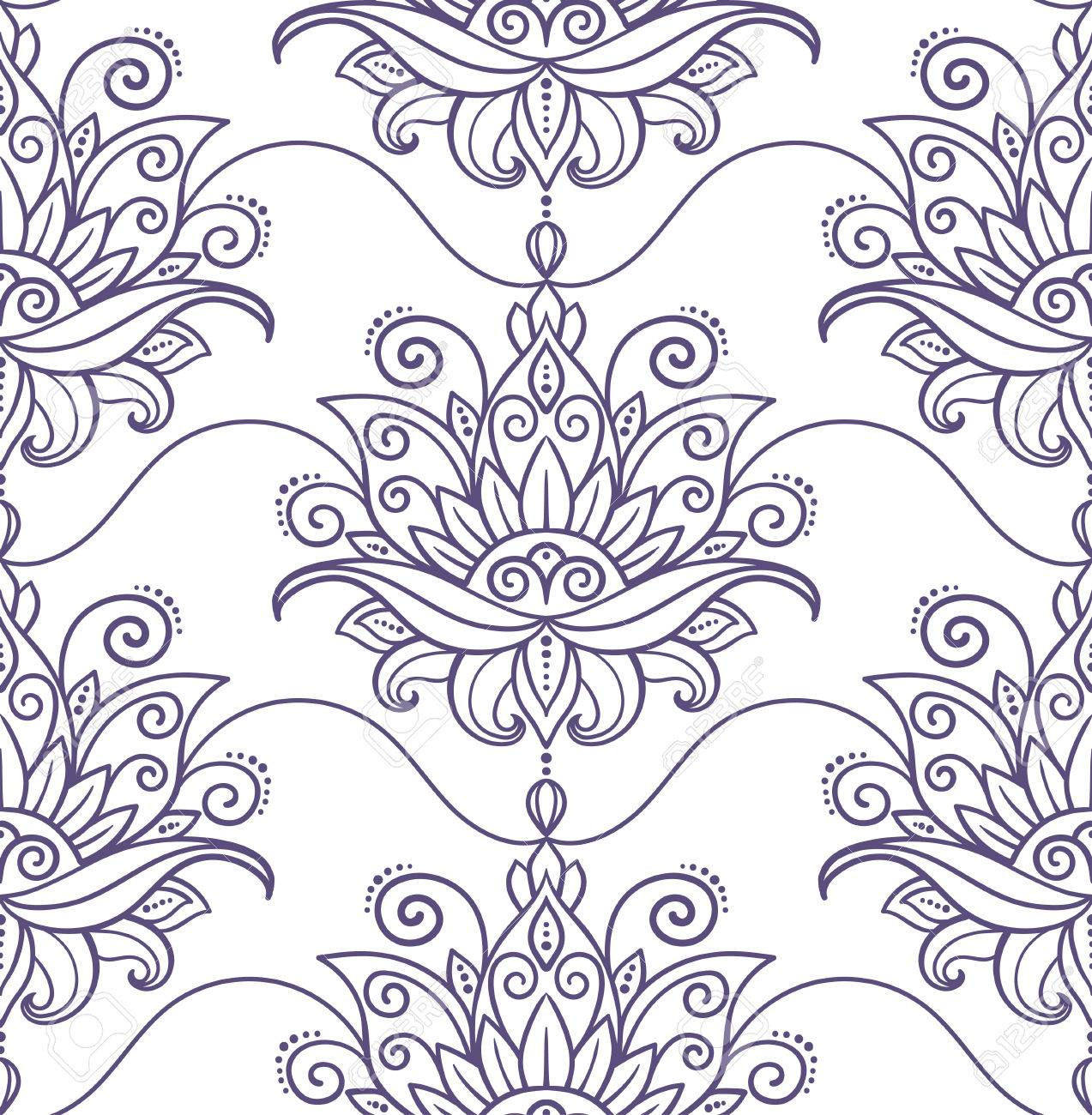 1273x1300 Vector, Abstract, Seamless Pattern, Oriental Style, Flower, Lotus
