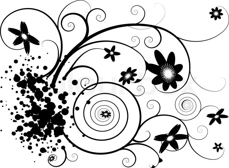 800x588 Abstract Grunge Floral Design In Black And White Stock Vector
