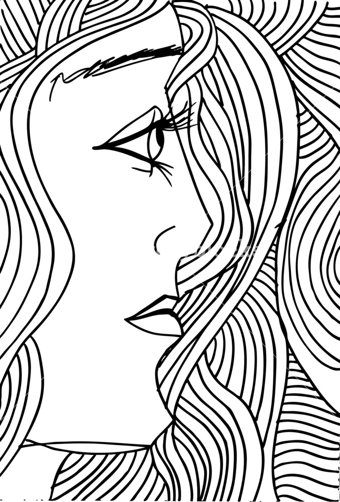 678x1000 Abstract Sketch Of Woman Face. Vector Illustration. Royalty Free