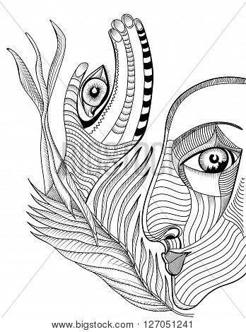 348x470 Abstract Surreal Face Hand Mehndi Vector Amp Photo Bigstock