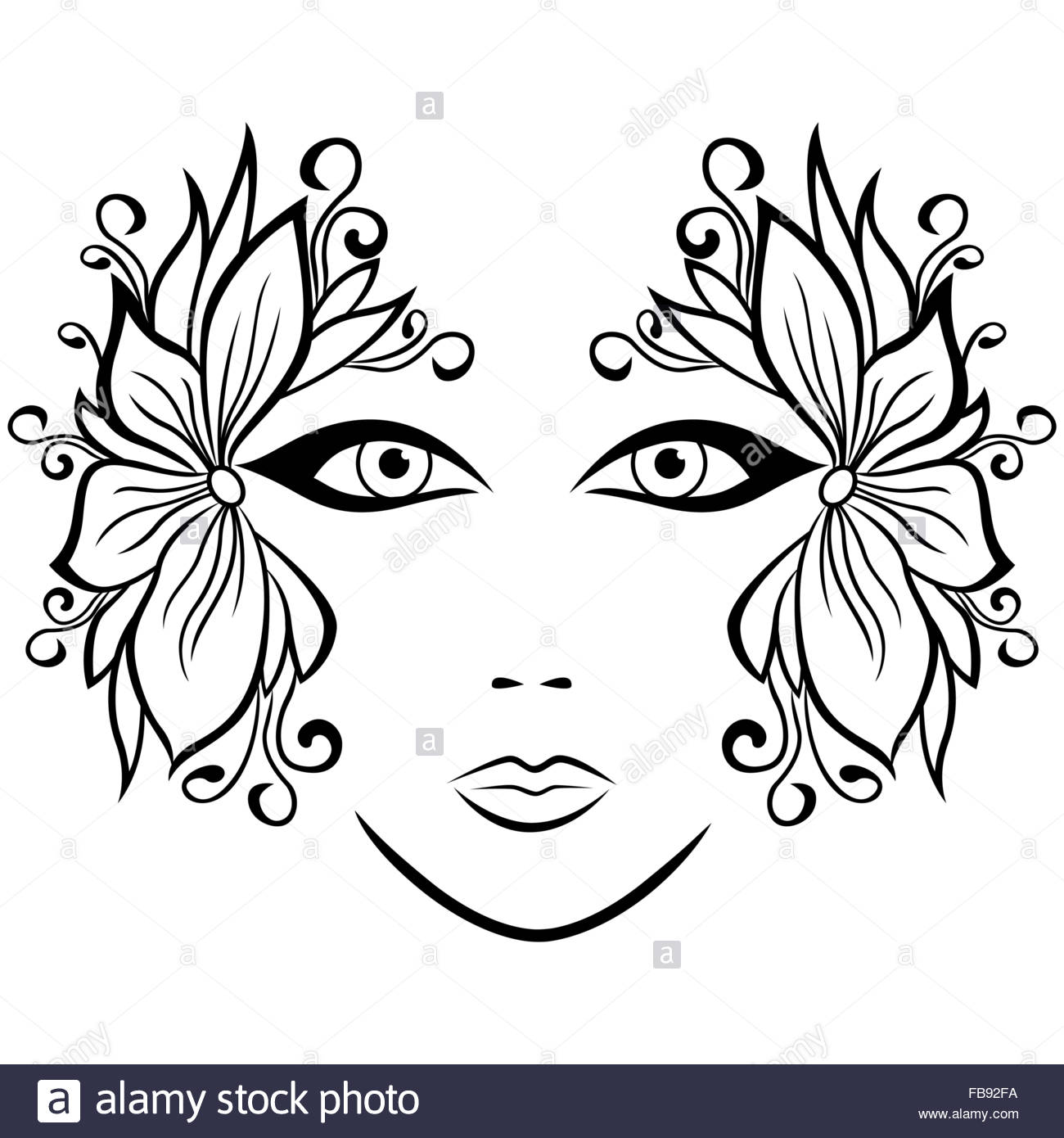 1300x1390 Abstract Black And White Female Face With Ornate Floral