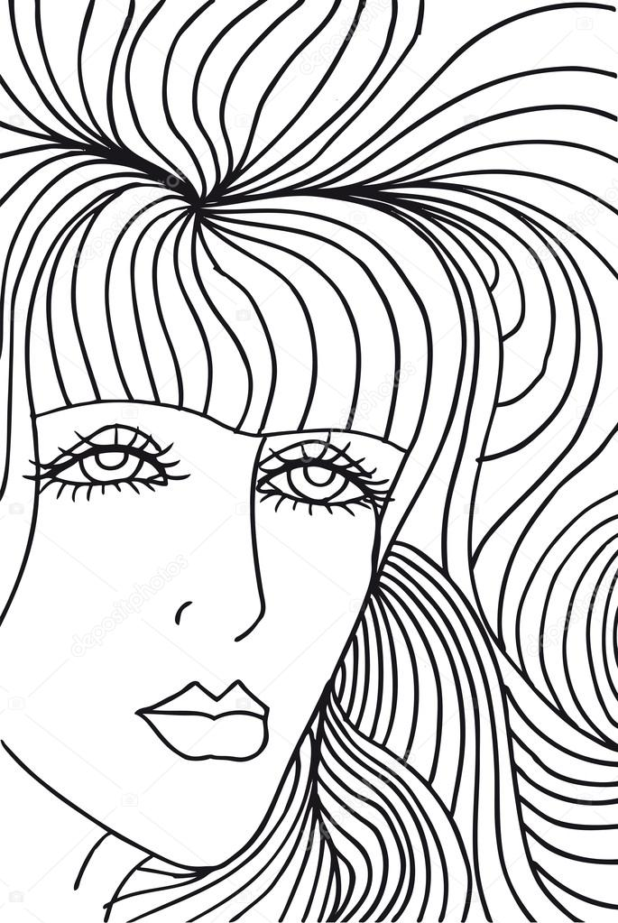685x1023 Abstract Sketch Of Woman Face. Vector Illustration. Stock Vector