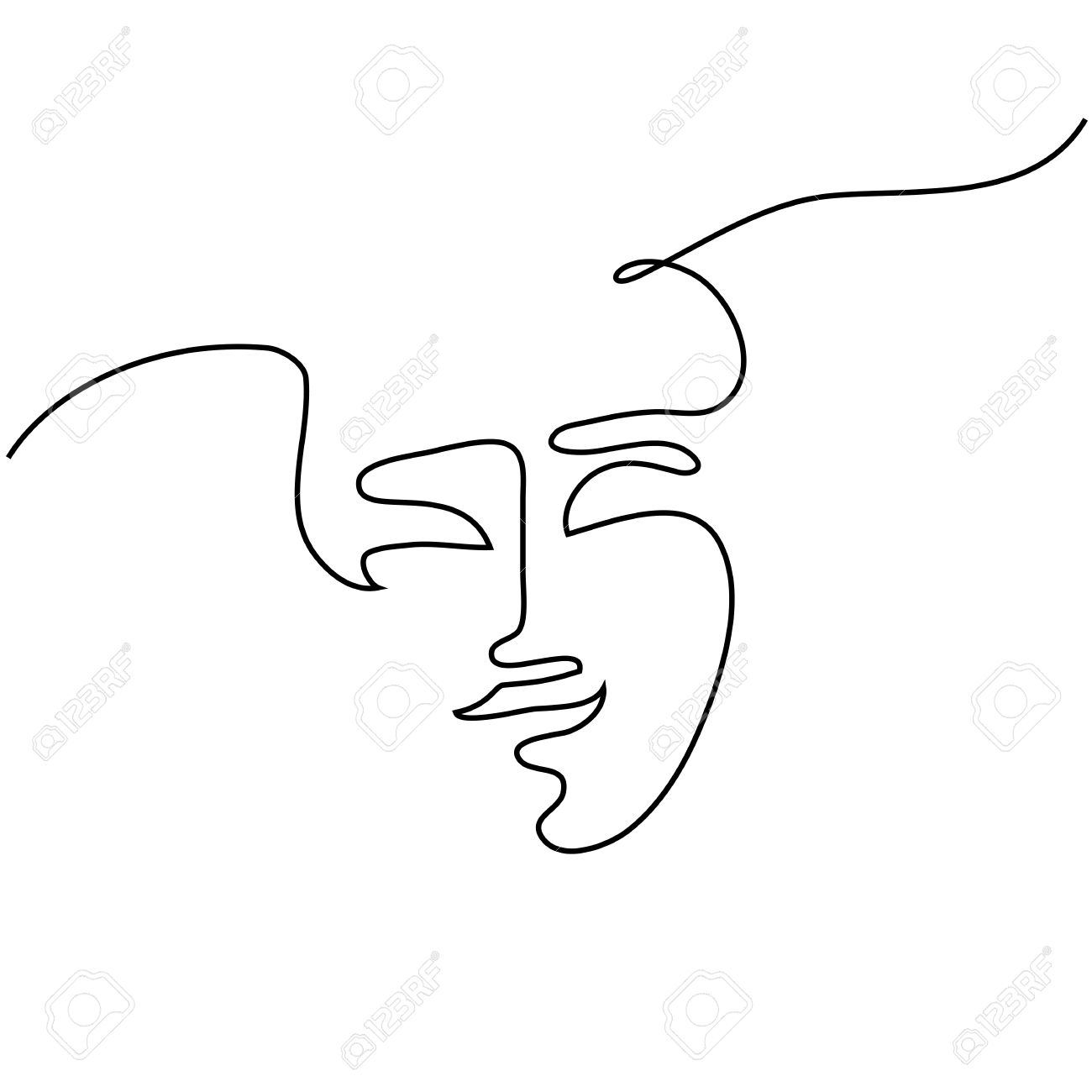 1300x1300 Continuous Line Drawing. Abstract Portrait Of A Woman. Vector