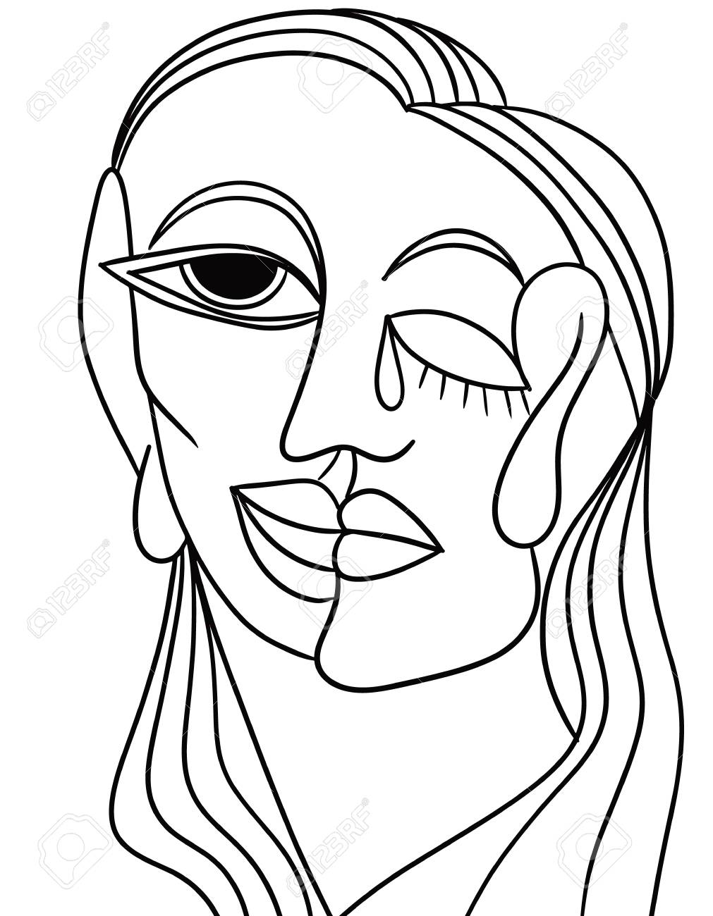 1011x1300 Abstract Face In Black And White Stock Photo, Picture And Royalty