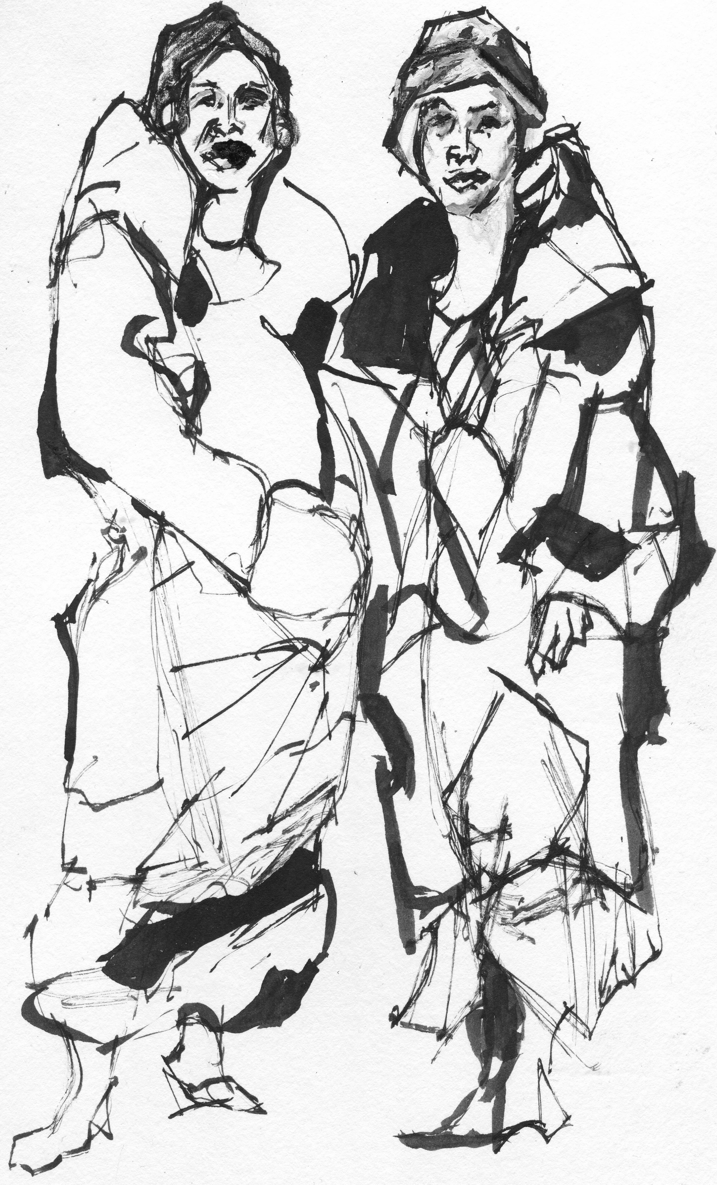 2842x4695 Giffin Ted Artwork Original Gangsta Girls Original Drawing Pen