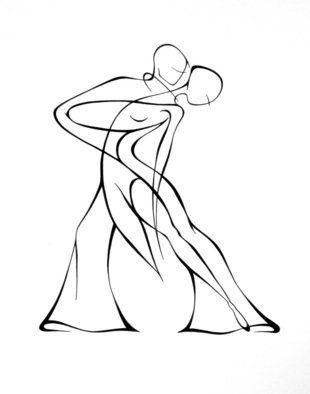 310x394 Lyudmila Kogan Artwork Dancers , 2008 Pen Drawing, Abstract