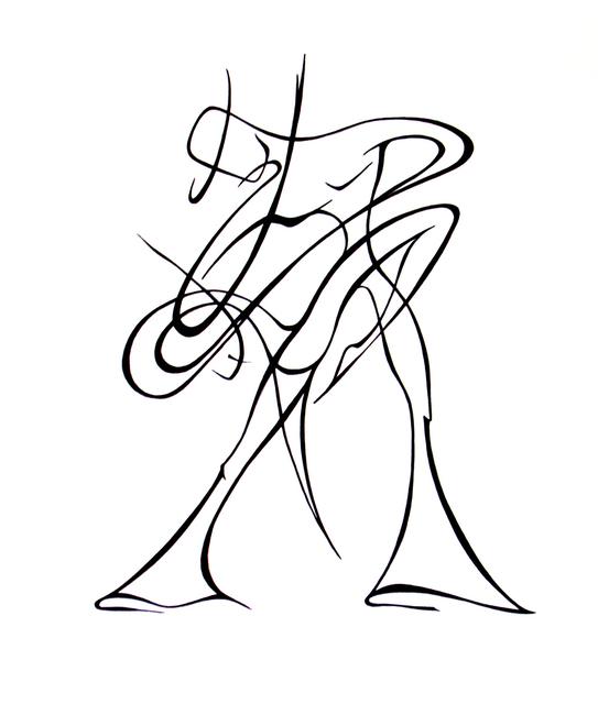 543x640 Lyudmila Kogan Artwork Dancers Original Drawing Pen Abstract