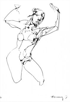 236x340 Original Abstract Human Figure Ink Drawing By Jbsfineartgallery