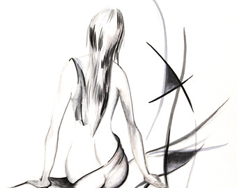 340x270 Woman Figure Art Print From Ink Drawing, Black And White, Abstract