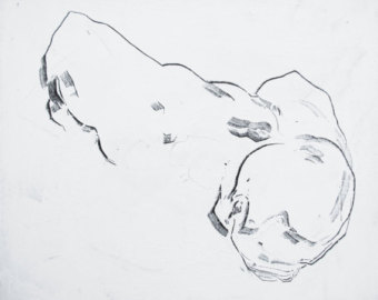 340x270 Male Nude Abstract Figure Drawing Original Charcoal