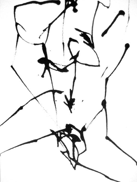 570x760 5x7in Intuitive Drawing Modern Minimal Elegant Original Ooak