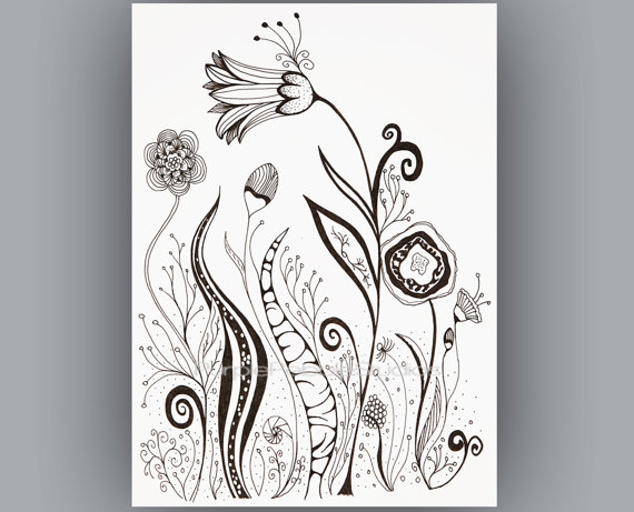 570x461 Adult Coloring Page Black And White Download Instant Digital