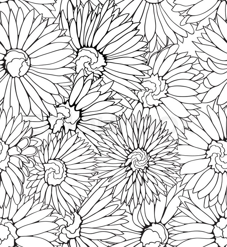 736x800 Black And White Floral Seamless Pattern With Hand Drawn Flowers
