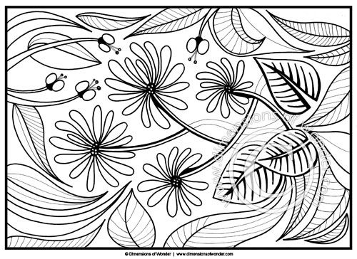 500x364 Coloring Pages For Adults Abstract Flowers