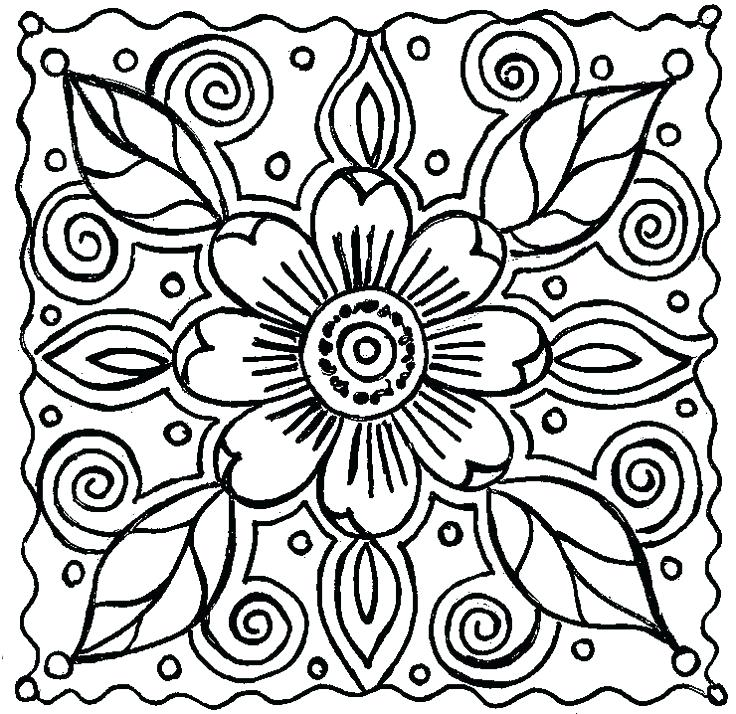 736x714 Coloring Pages With Flowers Abstract Flower Coloring By On Crafty
