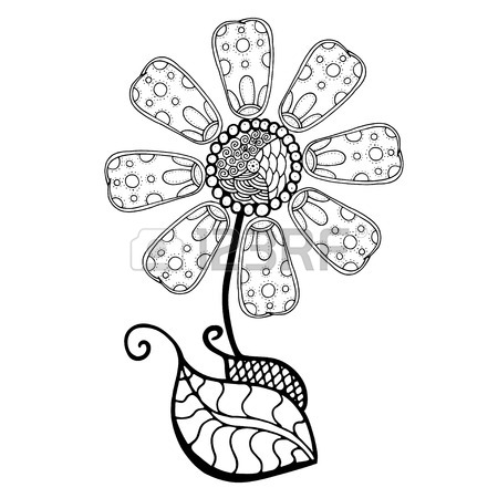 450x450 Hand Drawn Sketch Of Abstract Flower. Vector Illustration Royalty