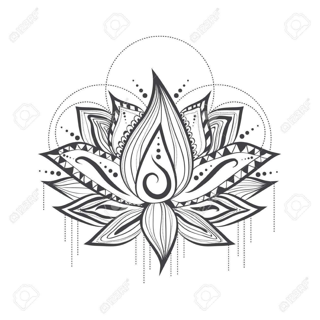 1300x1300 Illustration Of Abstract Tattoo Logo Design Of Lilly Lotus Flower