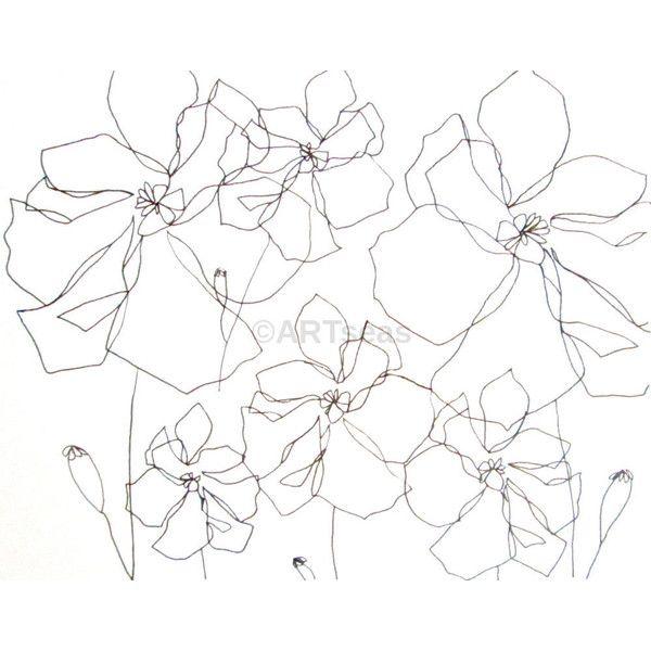 600x600 Original Botanical Drawing Minimalist Flower Drawing Abstract