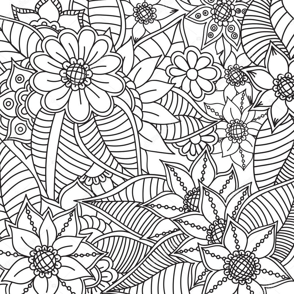 1024x1024 Zentangle Abstract Flowers. Doodle Flower. Vector Illustration
