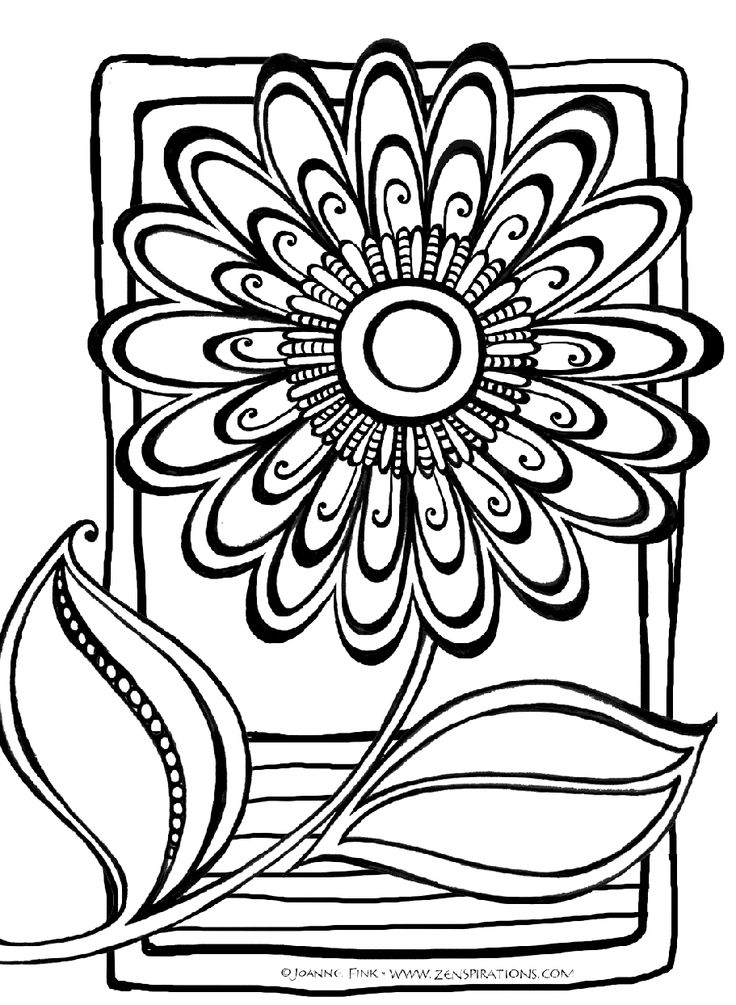 736x1005 Abstract Flower Coloring Pages