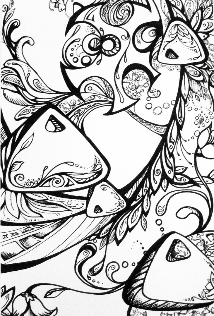 Abstract Guitar Drawing