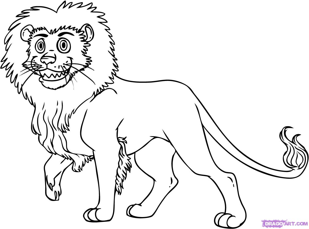 1291x956 Easy Cartoon Lion Drawings How To Draw A Cartoon Lion, Step By