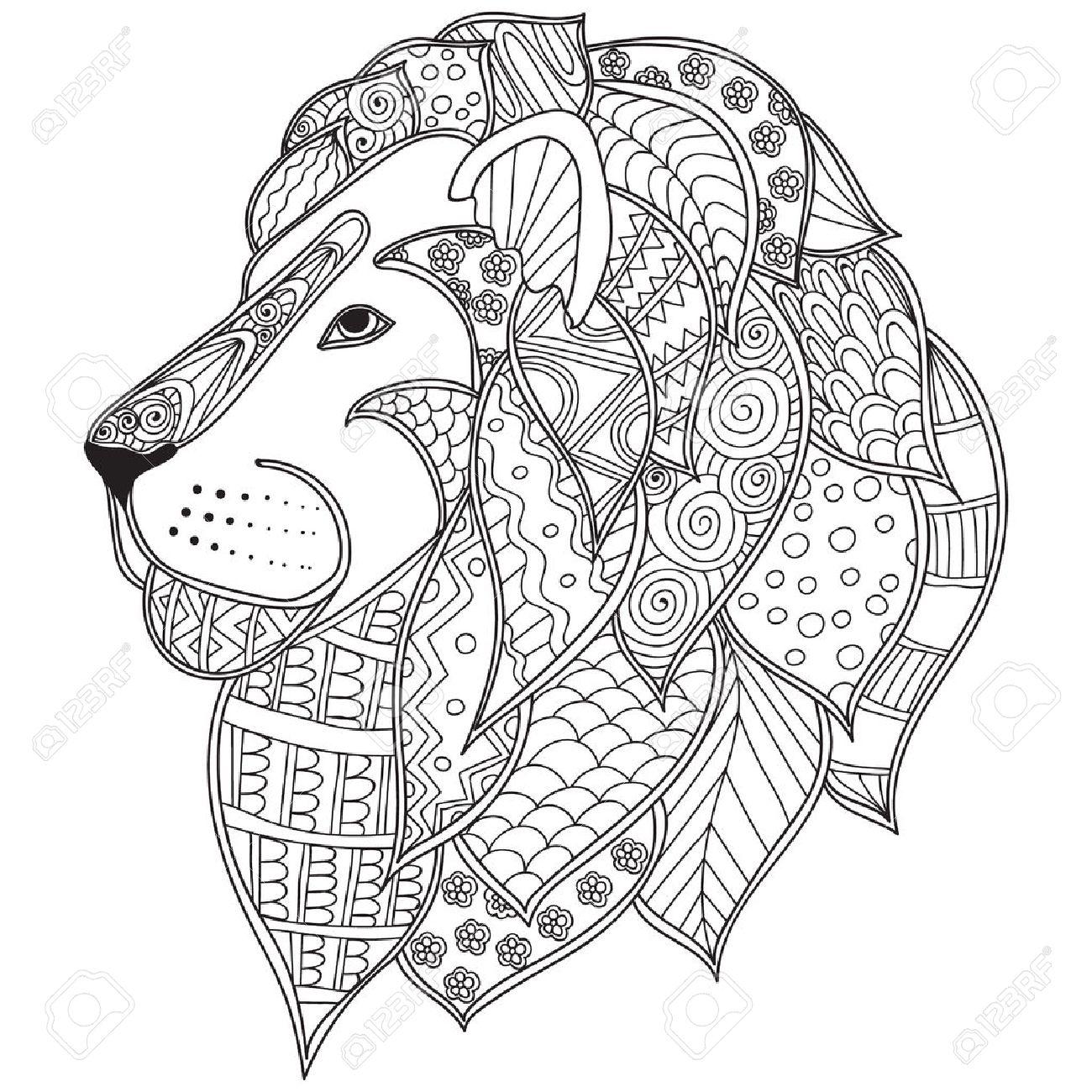 1300x1300 Hand Drawn Ornamental Outline Lion Head Illustration Decorated