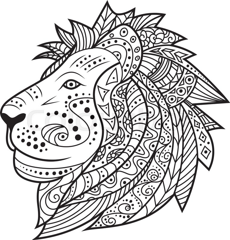 764x800 Hand Drawn Lion Isolated On White Background. Vector Illustration