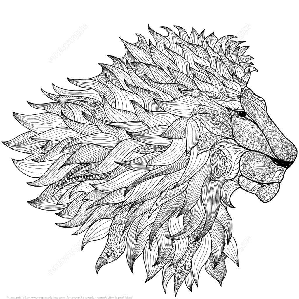 1024x1024 Lion Design Zentangle Coloring Page