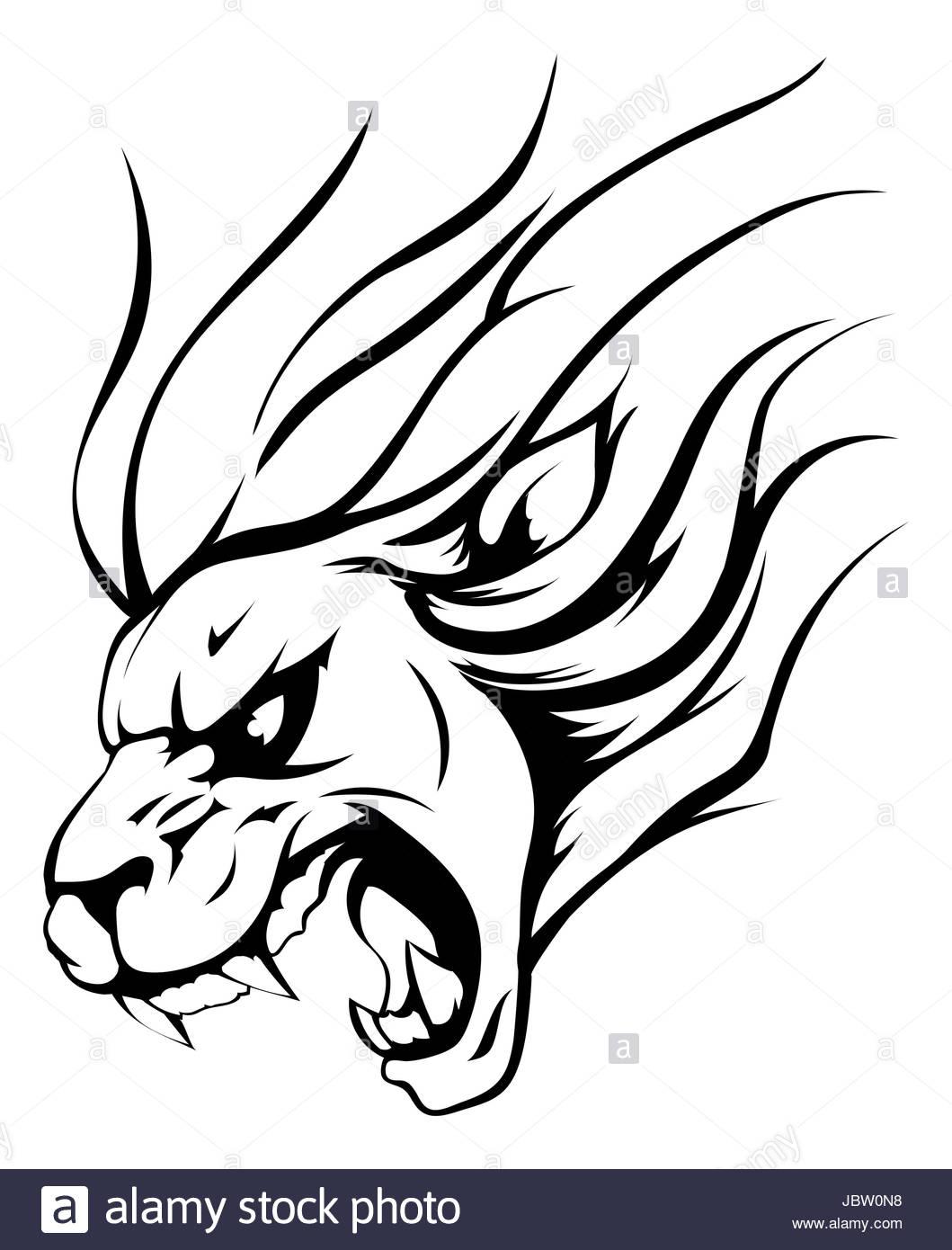1059x1390 Lion Mane Illustration. Vector Predator Abstract Portrait Stock