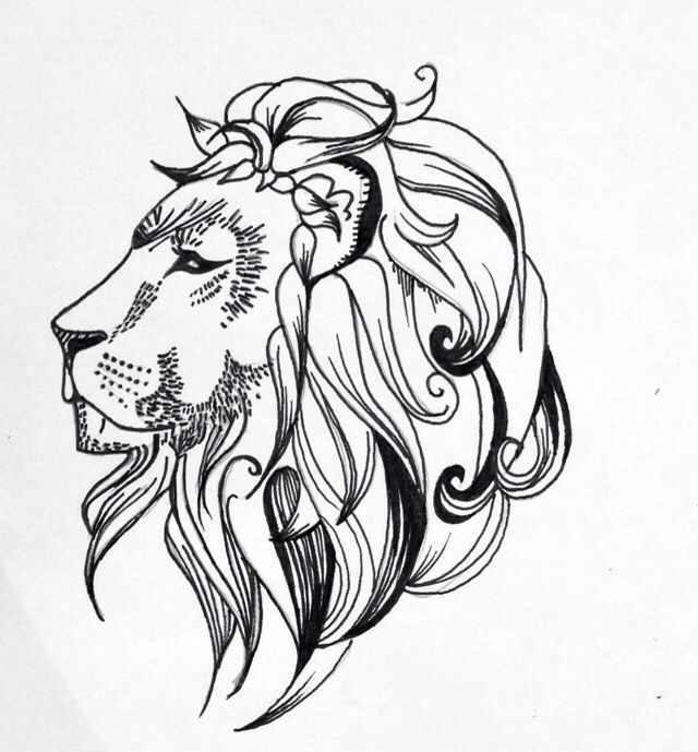 640x689 Quick Lion Line Drawing Tattoo Design By Lrw