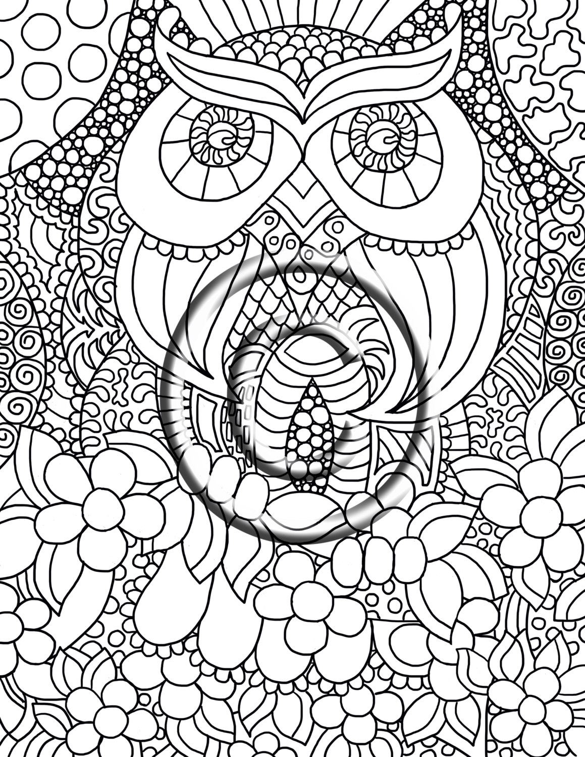 1159x1500 Digital Download Coloring Page Hand Drawn Zentangle Inspired Owl