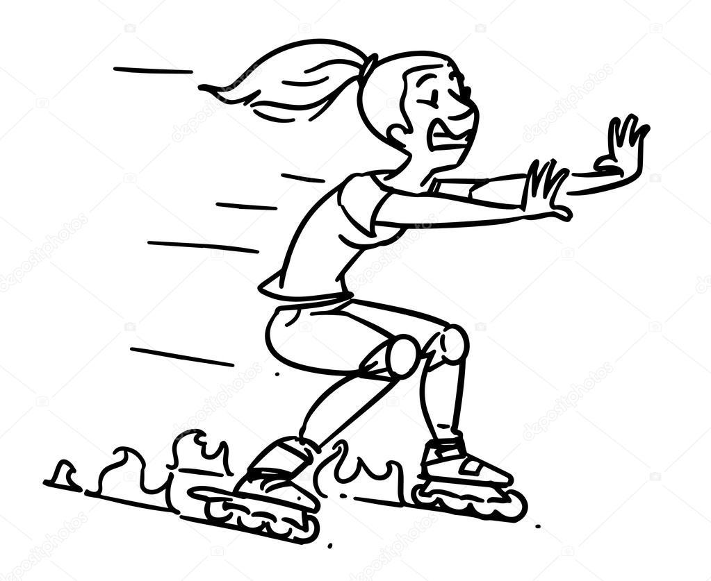 1023x837 Roller Skates Accident. Girl On Inline Skates. Cartoon Sketch