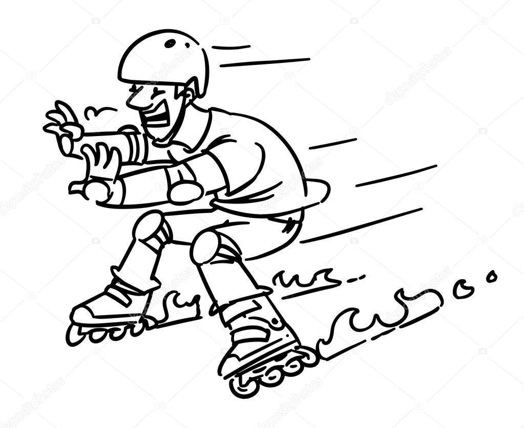 1023x837 Roller Skates Accident. Man On Inline Skates. Cartoon Sketch