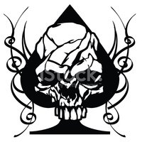 200x200 Skull Ace Of Spades Tribal Stock Vectors