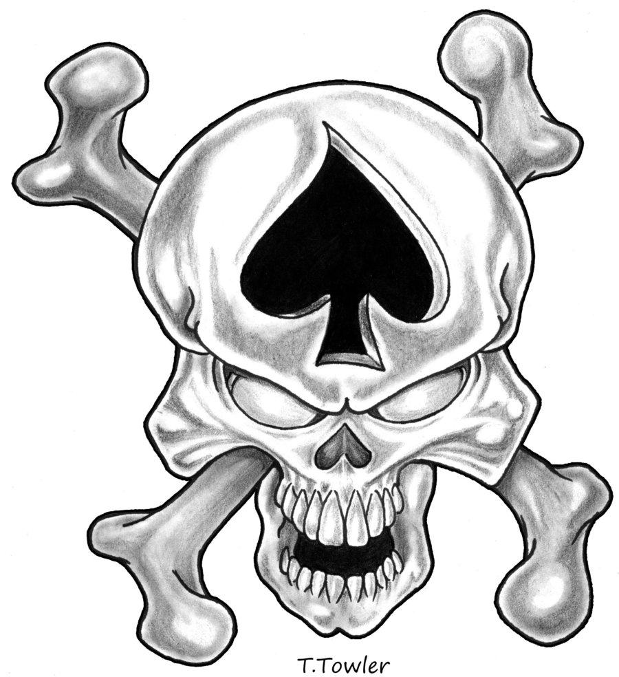 900x984 Spades Skull By Towlerart