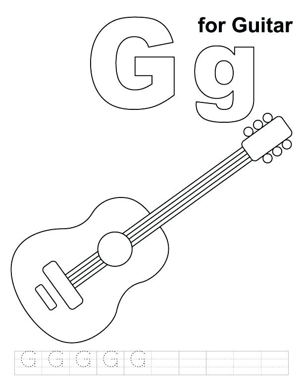 612x792 Electric Guitar Coloring Pages Acoustic Guitar Electric Guitar
