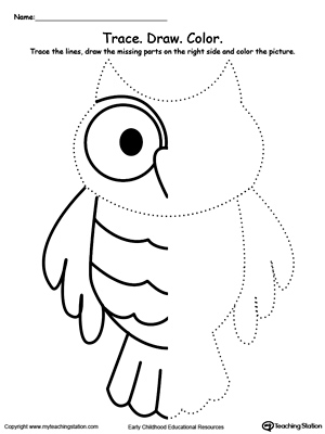 300x400 Trace And Draw Missing Lines To Make An Owl