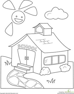 301x382 Color The Schoolhouse Worksheets, Kindergarten And School