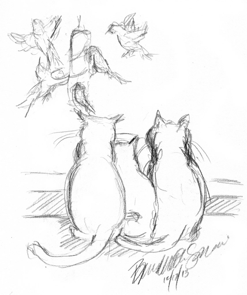 856x1024 Pencil Drawing Of Cats Daily Sketch Reprise Birdwatching A Family