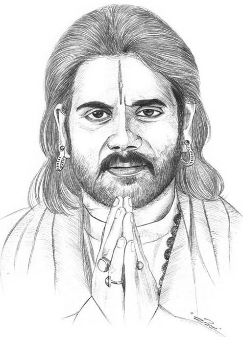 496x689 The Gr8 Actor From South Nagaarjun Indian Celebuzz Sketches