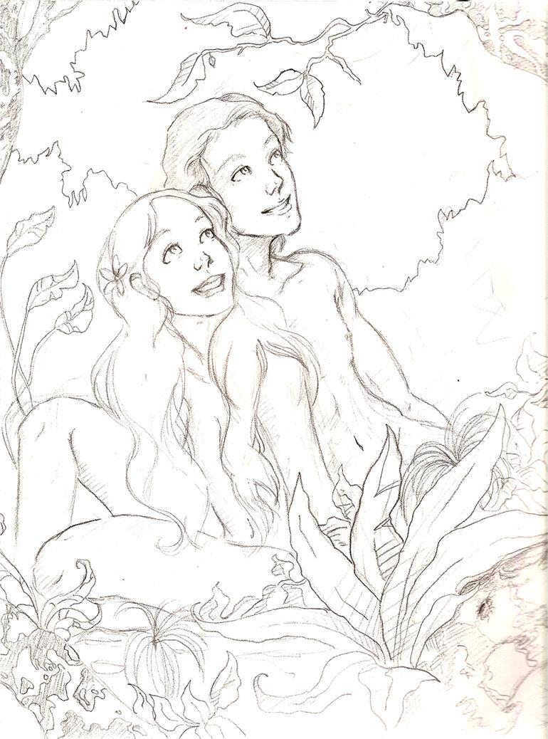 770x1038 Adam And Eve Pencilsketch By Allam