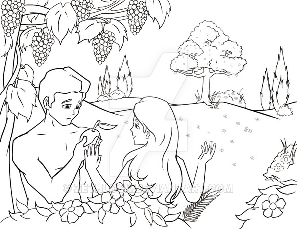 600x463 Adam And Eve In The Garden Of Eden By Zethlock