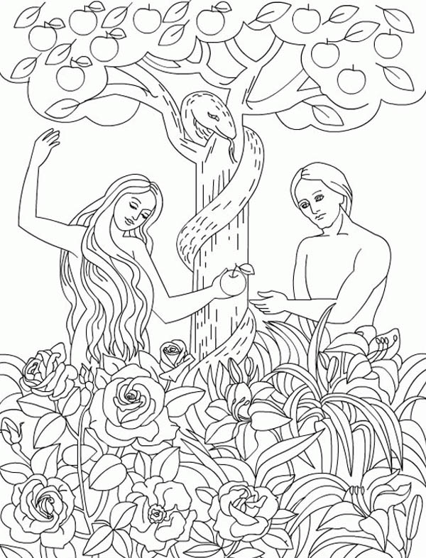 600x786 The Serpent Temp Adam And Eve To Eat Forbidden Fruit In Garden
