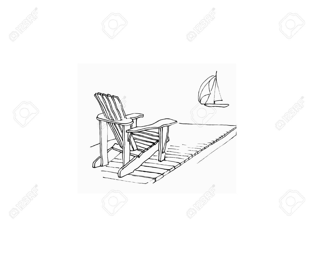 1300x1066 Marker Sketch Of Adirondack Chair On Dock With Sailing Boat