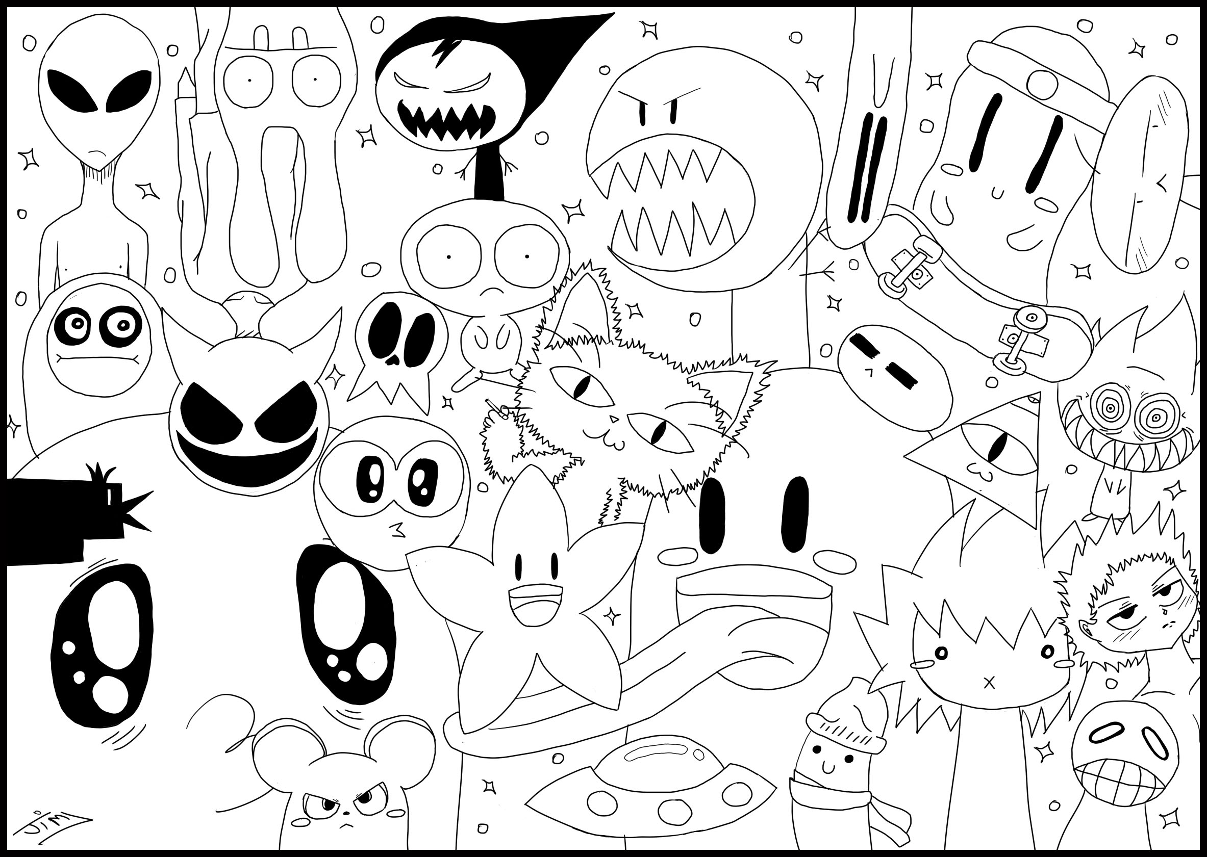 736x1015 Cute Coloring Pages For Adults 2366x1681 Doodle Monster World By Jim Doodling Art