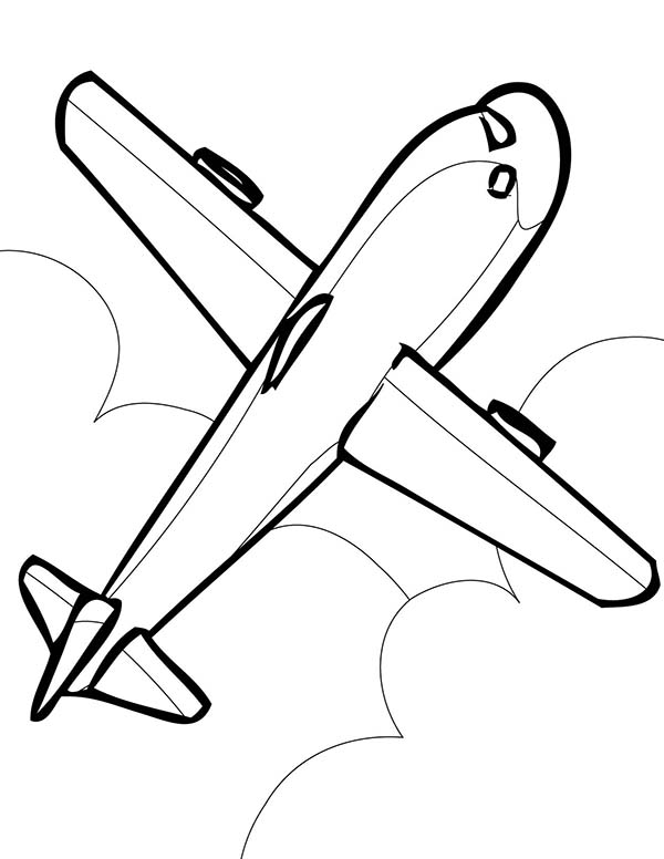 600x776 Simple Airline Coloring Page For Kids