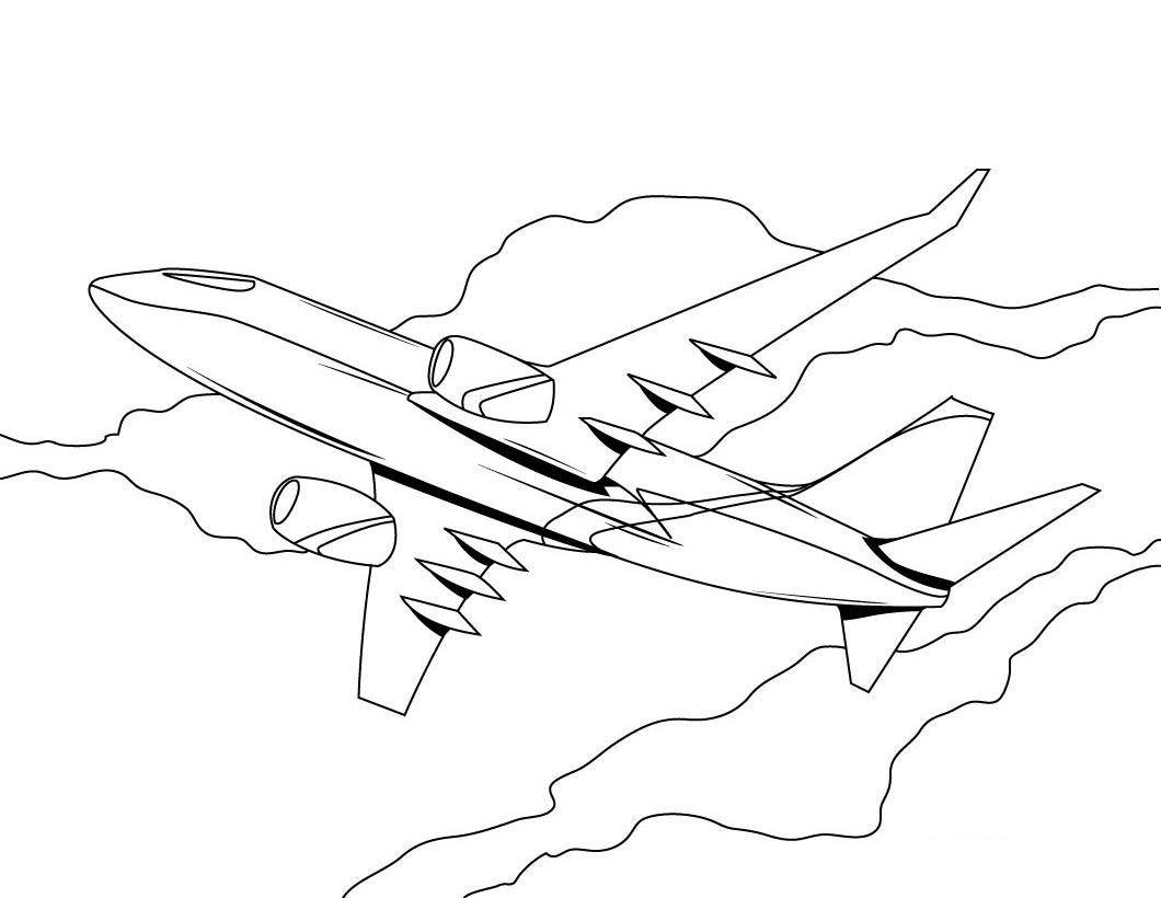 1060x820 Airplane Coloring Page