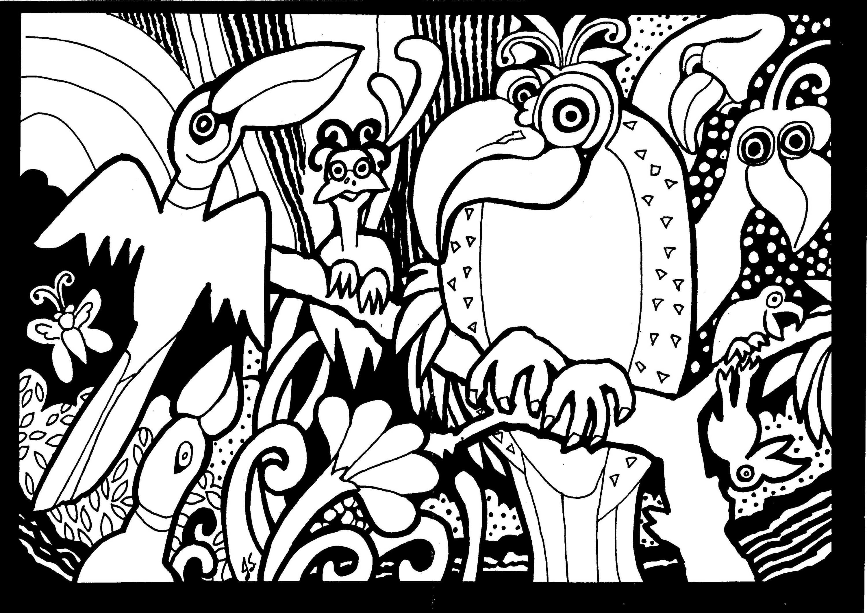 3000x2119 Print This Free Coloring Page Adult Africa Parrots
