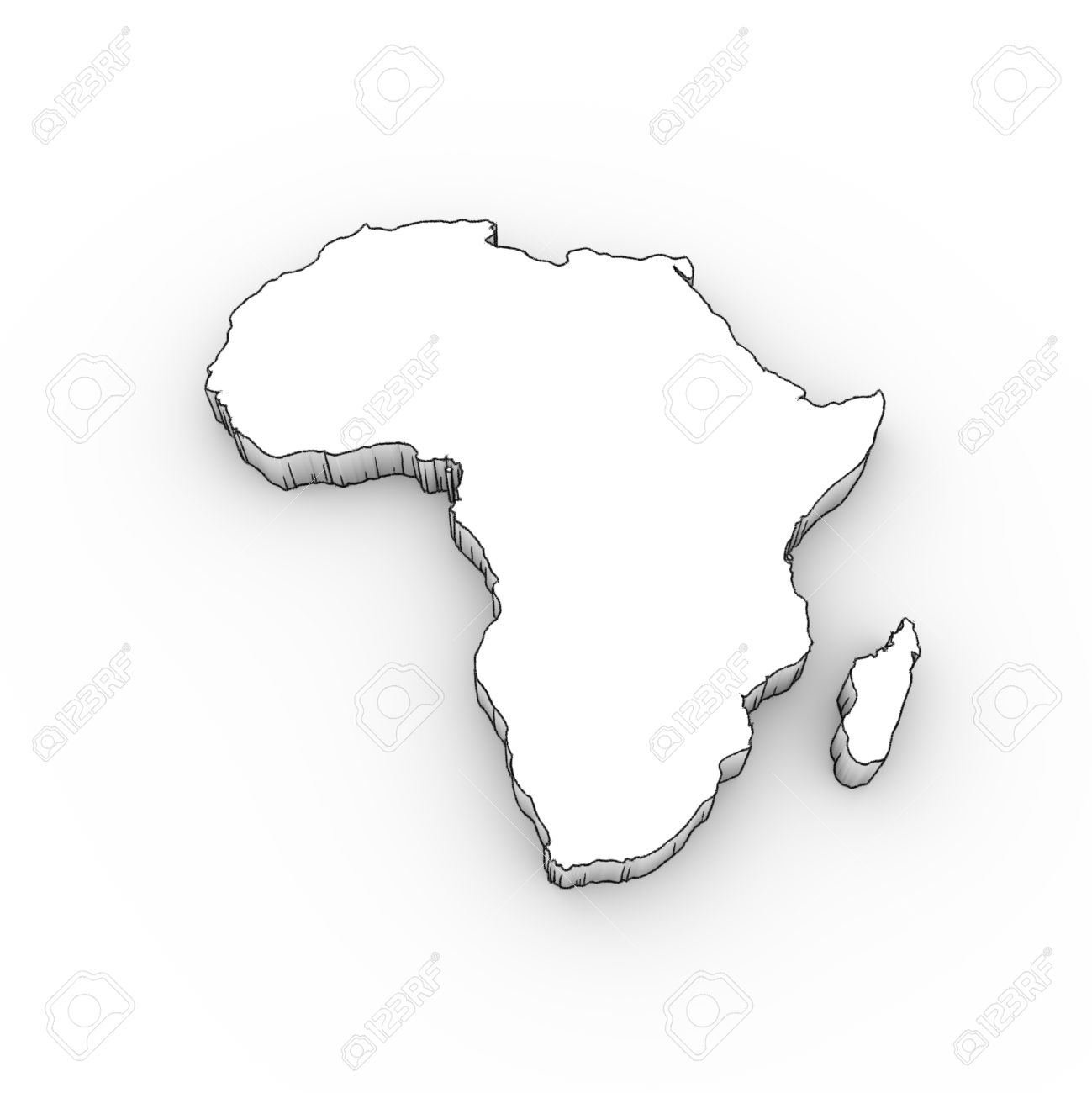 1299x1300 Africa Map 3d In White